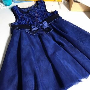 Toddler dress with bow and ruffles, wedding party